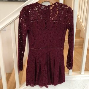 Mustard Seed wine burgundy lace romper XS